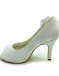 Women's Satin Cone Heel Peep Toe Platform Sandals With Imitation Pearl Satin Flower (047017786)