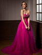 A-Line/Princess Sweetheart Court Train Tulle Quinceanera Dress With Ruffle Beading (021020620)