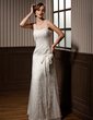 A-Line/Princess Sweetheart Floor-Length Tulle Wedding Dress With Lace Beading Bow(s) (002014262)