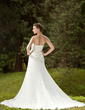 Trumpet/Mermaid Sweetheart Chapel Train Chiffon Satin Wedding Dress With Ruffle Beading Appliques Lace (002011658)