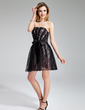 A-Line/Princess Strapless Short/Mini Charmeuse Lace Homecoming Dress With Ruffle Bow(s) (022019605)