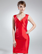 Sheath/Column V-neck Knee-Length Taffeta Mother of the Bride Dress With Ruffle (008016010)