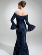 Trumpet/Mermaid Off-the-Shoulder Floor-Length Taffeta Mother of the Bride Dress With Ruffle Crystal Brooch (008006497)