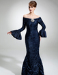 Trumpet/Mermaid Off-the-Shoulder Floor-Length Charmeuse Mother of the Bride Dress With Ruffle Crystal Brooch (008006497)