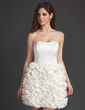 A-Line/Princess Sweetheart Short/Mini Satin Wedding Dress With Flower(s) (002011514)