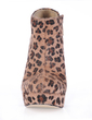 Suede Chunky Heel Platform Closed Toe Ankle Boots With Animal Print shoes (088017132)