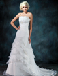 A-Line/Princess Scalloped Neck Court Train Organza Wedding Dress With Ruffle Beading (002012849)