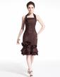 Sheath/Column Halter Knee-Length Taffeta Cocktail Dress With Flower(s) Cascading Ruffles (016021235)