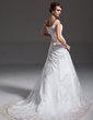 A-Line/Princess Off-the-Shoulder Court Train Tulle Wedding Dress With Ruffle Beading Appliques Lace (002000091)