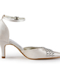 Women's Satin Stiletto Heel Closed Toe Pumps With Buckle Rhinestone (047005368)