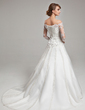 Ball-Gown Off-the-Shoulder Court Train Charmeuse Tulle Wedding Dress With Beading (002017567)