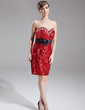 Sheath/Column Sweetheart Knee-Length Sequined Cocktail Dress With Sash Beading Bow(s) (016016264)
