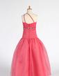 Balowa Do Podłogi Flower Girl Dress - Organza Bez Rękawów Jedno ramię Z Żabot/Frezowanie/cekiny (010007333)