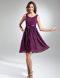 A-Line/Princess Scoop Neck Knee-Length Chiffon Bridesmaid Dress With Bow(s) (007015498)