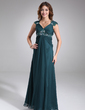 Empire V-neck Floor-Length Chiffon Chiffon Maternity Bridesmaid Dress With Ruffle Lace Beading (045022468)