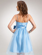 Empire Knee-Length Organza Homecoming Dress With Ruffle Bow(s) (022004971)