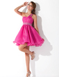 Empire One-Shoulder Short/Mini Organza Homecoming Dress With Ruffle Beading (022007290)