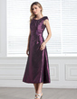 A-Line/Princess Scoop Neck Tea-Length Taffeta Bridesmaid Dress With Ruffle Beading Sequins (007005303)