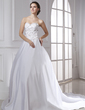 Ball-Gown Sweetheart Chapel Train Satin Wedding Dress With Embroidered (002015475)