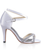 Women's Silk Like Satin Cone Heel Pumps Sandals With Buckle Rhinestone (047026744)