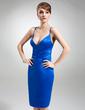 Sheath/Column V-neck Knee-Length Satin Cocktail Dress (016022558)