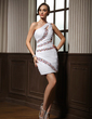 Sheath/Column One-Shoulder Short/Mini Chiffon Homecoming Dress With Ruffle Beading (022011004)