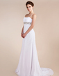 Empire Sweetheart Sweep Train Chiffon Prom Dress With Ruffle Beading (018020741)