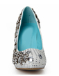 Women's Real Leather Cone Heel Closed Toe Platform Pumps With Rhinestone Crystal Heel (047033928)