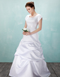 A-Line/Princess Square Neckline Floor-Length Satin Wedding Dress With Ruffle Crystal Brooch (002001633)
