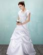 A-Line/Principessa Scollatura quadrato A terra Raso Abiti da sposa con Increspature Pin floreale in cristallo (002001633)