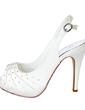 Kadın Satin İnce Topuk Peep Toe Pompalar Sandalet Ile Yapay elmas (047057128)