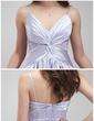 A-Line/Princess V-neck Asymmetrical Charmeuse Prom Dress With Ruffle Beading (018020957)