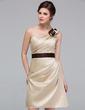 Sheath/Column One-Shoulder Knee-Length Satin Bridesmaid Dress With Ruffle Sash Flower(s) (007037240)