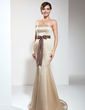 Trumpet/Mermaid Strapless Sweep Train Satin Bridesmaid Dress With Sash Bow(s) (007000897)