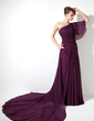 A-Line/Princess One-Shoulder Watteau Train Chiffon Mother of the Bride Dress With Ruffle (008017178)