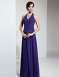 A-Line/Princess Halter Floor-Length Chiffon Bridesmaid Dress With Ruffle Beading (007001091)