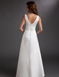 A-Line/Princess V-neck Floor-Length Satin Mother of the Bride Dress With Ruffle (008006062)