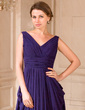 A-Line/Princess V-neck Sweep Train Chiffon Mother of the Bride Dress With Ruffle (008024441)