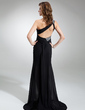 Sheath/Column One-Shoulder Sweep Train Chiffon Sequined Prom Dress With Ruffle Beading Split Front (018020819)
