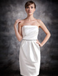 Sheath/Column Strapless Knee-Length Satin Bridesmaid Dress With Ruffle Beading (007016869)
