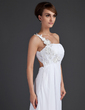 A-Line/Princess One-Shoulder Sweep Train Chiffon Holiday Dress With Ruffle Appliques Lace (020015604)