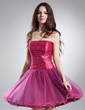 A-Line/Princess Strapless Short/Mini Taffeta Tulle Homecoming Dress With Beading (022015595)