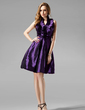 A-Line/Princess Halter Knee-Length Taffeta Bridesmaid Dress With Ruffle (007004328)