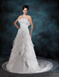 A-Line/Princess Strapless Chapel Train Satin Organza Wedding Dress With Beading Flower(s) Cascading Ruffles (002004532)