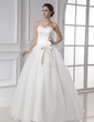 Ball-Gown Sweetheart Floor-Length Satin Organza Wedding Dress With Sash Bow(s) (002015478)