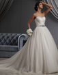 Ball-Gown One-Shoulder Chapel Train Tulle Wedding Dress With Ruffle Beading (002022698)