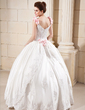 Ball-Gown Floor-Length Satin Wedding Dress With Beading Appliques Lace Flower(s) Sequins (002012651)