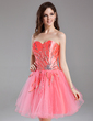 A-Line/Princess Sweetheart Short/Mini Tulle Homecoming Dress With Ruffle Beading Sequins (022010042)