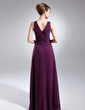 A-Line/Princess V-neck Floor-Length Chiffon Mother of the Bride Dress With Ruffle Beading (008005965)