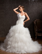 Ball-Gown One-Shoulder Chapel Train Taffeta Tulle Wedding Dress With Ruffle Feather Appliques Lace Flower(s) Sequins (002015160)